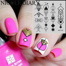 Nail Art Stamp Plate Image Stamping  Template Geometry Pattern ND108