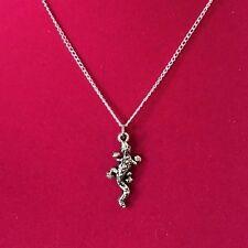 Charm Necklace (Silvertone) - Animal - Gecko