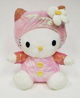 Sanrio Hello Kitty Puffalump Nylon Plush Stuffed Cat in Shimmer Pink Outfit 1998