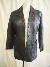 "Ladies Leather Jacket Wallace Sachs UK 10, length 31"", black, some wear 1599"