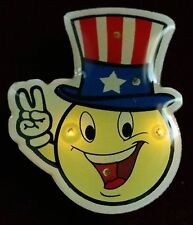 Happy Face Patriotic Peace Sign Flashing LED Light Lapel Jewelry - Alectralights