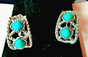 JUDITH RIPKA STERLING SILVER DOUBLE TURQUOISE PIERCED EARRINGS with Gift box