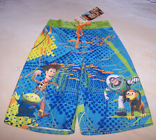 Disney Toy Story Boys Blue Green Printed Board Shorts Size 6 New