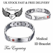 VINCENZA STAINLESS STEEL MEDICAL ALERT ID CHUNKY BRACELET FOR MEN WOMEN UNISEX