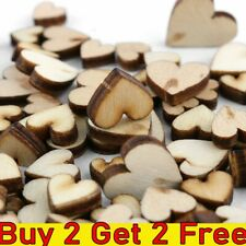 100X DIY Rustic Wood Wooden Love Heart Wedding Table Scatter Decoration Crafts M