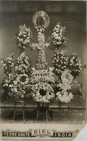 Terre Haute Indiana Vtg Early 1900s Cabinet Card Funeral Flowers Biel Studios