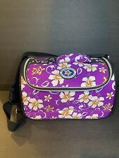 MOVERA HAWAII Purple Hisbiscus Flower FLORAL Print Travel DUFFLE Carry On Bag