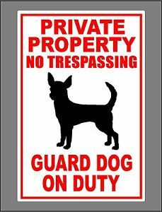 Metal Guard Dog On Duty Sign Private Property No Trespassing Chihuahua New