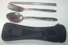 Stainless Steel Utensil Set With Spoon Fork Chopstick & Travel Pouch