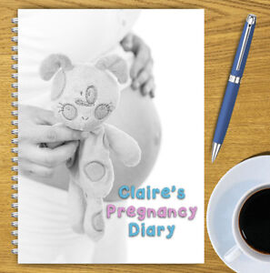 A5 PERSONALISED PREGNANCY DIARY, PREGNANCY PLANNER, MATERNITY, OWN NAME, 07