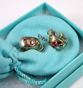 Tiffany & Co Sterling Silver 18K Gold Etoile Tourmaline Sapphire Hoop Earrings