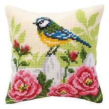 Herrerillo Flores Rosas Verde/Rosa Crema Funda de Cojín 40.6cm X Cross Stitch