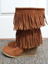 Minnetonka Wedge Fringe Brown Suede Boots Size 8