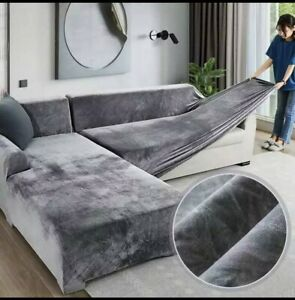 Velvet Plush L Shaped Sofa Cover For Living Room Elastic Furniture