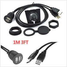 2USB 2.0 EXTENSION Cable 3ft/1M Male Plug to Female Socket Dashboard Flush Mount