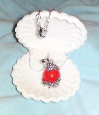 """Dragon with red jade stone on silver plate 20"""" snake chain in white velvet shell"""