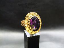 Ring 925 Silber, Amethyst, 24 Karat vergoldet, Gold, Edelstein, edel, neu