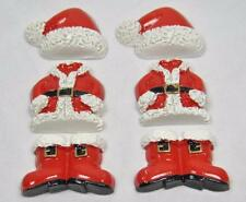 BB FLATBACKS SANTA SUIT pk of 6 CHRISTMAS boots hat suit resin flatback