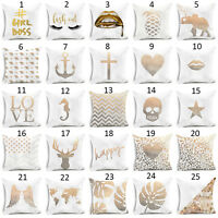 Sofa Gold Shining Printed Polyester Throw Pillow Case Cushion Cover Home Decor