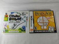 Chibi-Robo: Zip Lash & Brain Age 1 Nintendo 3DS & DS Authentic