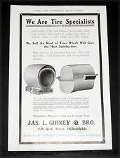 1904 OLD MAGAZINE PRINT AD, JAS. GIBNEY TIRES, FROM BABY COACH TO A FIRE ENGINE!