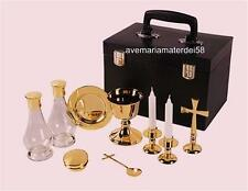Gold Plated Portable Priest Mass Kit Hard Case Chalice Paten Pyx Cross Candles+
