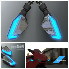 2 Pcs DC12V Motorcycles Blue+Yellow LED Signal Lights Daytime Running Lamps DRL
