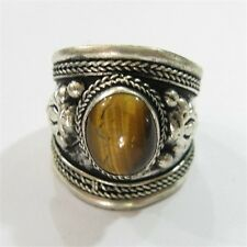 Big Adjustable Tibetan Weaving Dotted Oval Tiger Eye Gemstone Dorje Amulet Ring