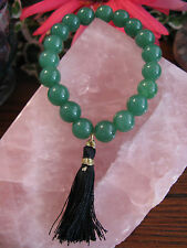 New Natural Rustic Green Aventurine Good Luck Beaded Cuff Bracelet w/ Tassel