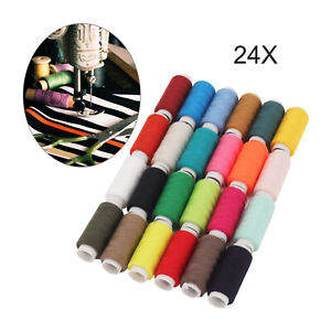 24Colour/Spools 180M Finest Quality Sewing Thread ReelAll Purpose 100% Polyester
