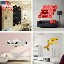 12Pcs 3D Hexagon Acrylic Mirror Wall Stickers DIY Art Wall Decor Stickers US