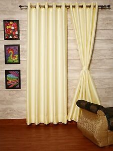 Ivory Faux Silk Dupioni Curtains with Thick Lining, Select Top, Width & Length