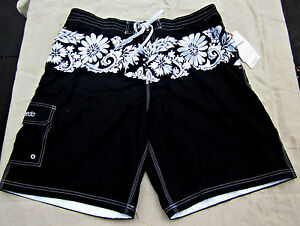 NWT!   SPEEDO BOARDSHORTS BATHING SWIM SHORTS TRUNKS-BLACK HAWAIIAN - XXL 2X