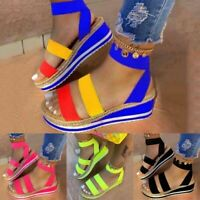 Womens Colorful Sandals Slip On Wedge Platform Heel Peep Toe Ankle Strap Shoes
