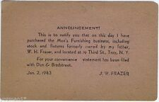 W. H. Frazer Men's Furnishings Store, Troy, N.Y. Sale Announcement 1943