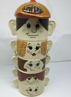 "Vintage Set Family of Face Soup Cereal Bowls ""Soupers"" Made in Japan Stackable"