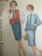 Vintage Simplicity 3173 MAD MEN STYLE SUIT SKIRT JACKET Sewing Pattern Teen Girl