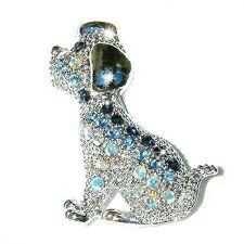 Blue w Swarovski Austrian Crystal Dalmatian puppy DOG Animal Pet Pin Brooch Cute