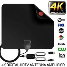 Digital TV Antenna Amplified Aerial Signal Indoor Thin Freeview 80 Mile HDTV HD