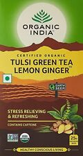 Organic India Tulsi Green Tea, Lemon Ginger, 25 Tea Bags Pack Of 4