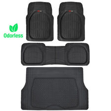 4pc All Weather Floor Mats & Cargo Set - Black Tough Rubber Motortrend Deep Dish (Fits: Dodge Stealth)