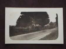 CAR PARKED ON THE SIDE OF THE ROAD UNDER A TREE - VTG  REAL PHOTO POSTCARD