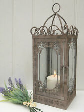 Vintage Style French Grey Large Lantern Candle Holder Rustic Shabby Chic Garden