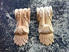 x 2 Decorative Carved Corbel Wood Raw - S-32 - H16cm x W6cm