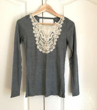 Hollister Women Knit Top S Gray Cream Floral Lace Bib Cut Out Back Long Sleeve