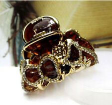 ConMiGo SOH0014 brown hairstyling crystal embellished acrylic jaw hair clip
