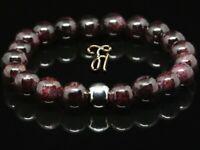 Granat 925er sterling Silber Armband Bracelet Perlenarmband rot 8mm