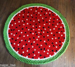 Size 100 cm Pom Pom Felt Balls Rug Nursery Room rug watermelon design mat