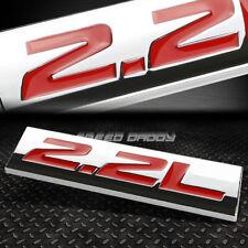 METAL GRILL TRUNK EMBLEM DECAL LOGO TRIM BADGE POLISHED CHROME RED 2.2L 2.2 L