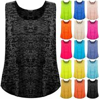 Plus Size Ladies Womens Casual Gymming Burn Out Racer Vest Neon Loose Tank Top